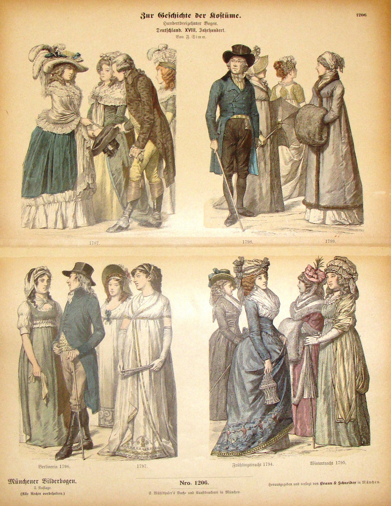 "Braun & Schneider's Costumes - ""GERMANY (Number 1206)"" - Chromo Lithograph - 1861"
