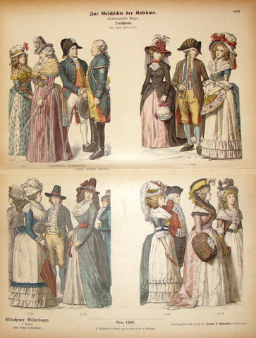 "Braun & Schneider's Costumes - ""GERMANY (Number 1203)"" - Chromo Lithograph - 1861"