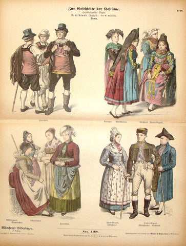 "Braun & Schneider's Costumes - ""GERMANY (Number 1168)"" - Chromo Lithograph - 1861"