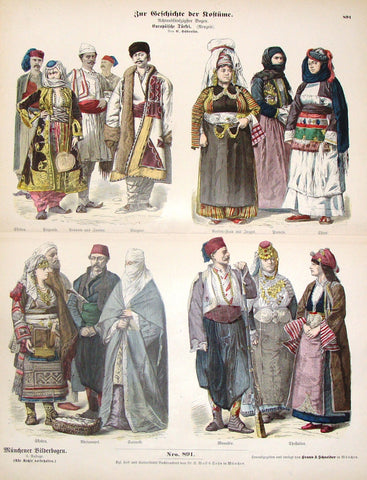 "Braun & Schneider's Costumes - ""EUROPEAN TURKISH (Number 891)"" - Chromo Lithograph - 1861"