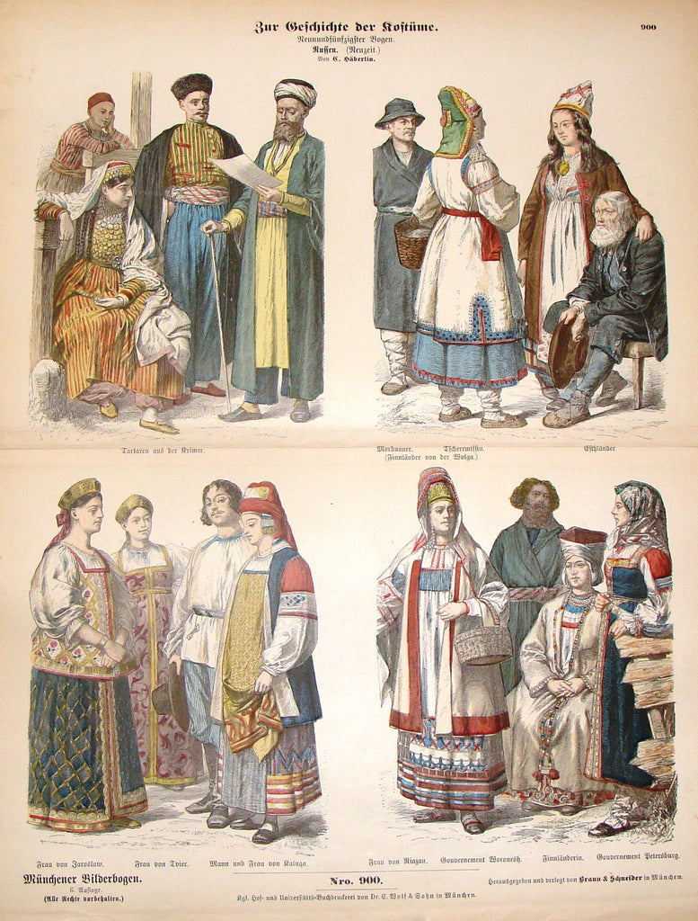 "Braun & Schneider's Costumes - ""RUSSIAN (Number 900)"" - Chromo Lithograph - 1861"