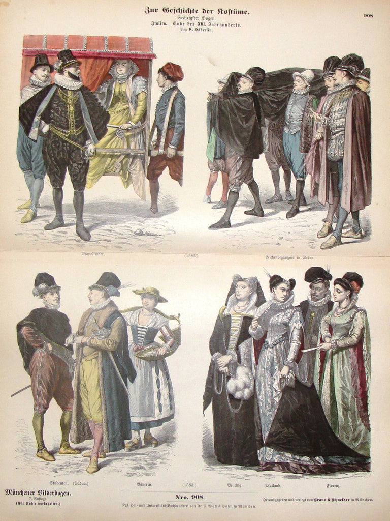 "Braun & Schneider's Costumes - ""ITALIAN (Number 908)"" - Chromo Lithograph - 1861"