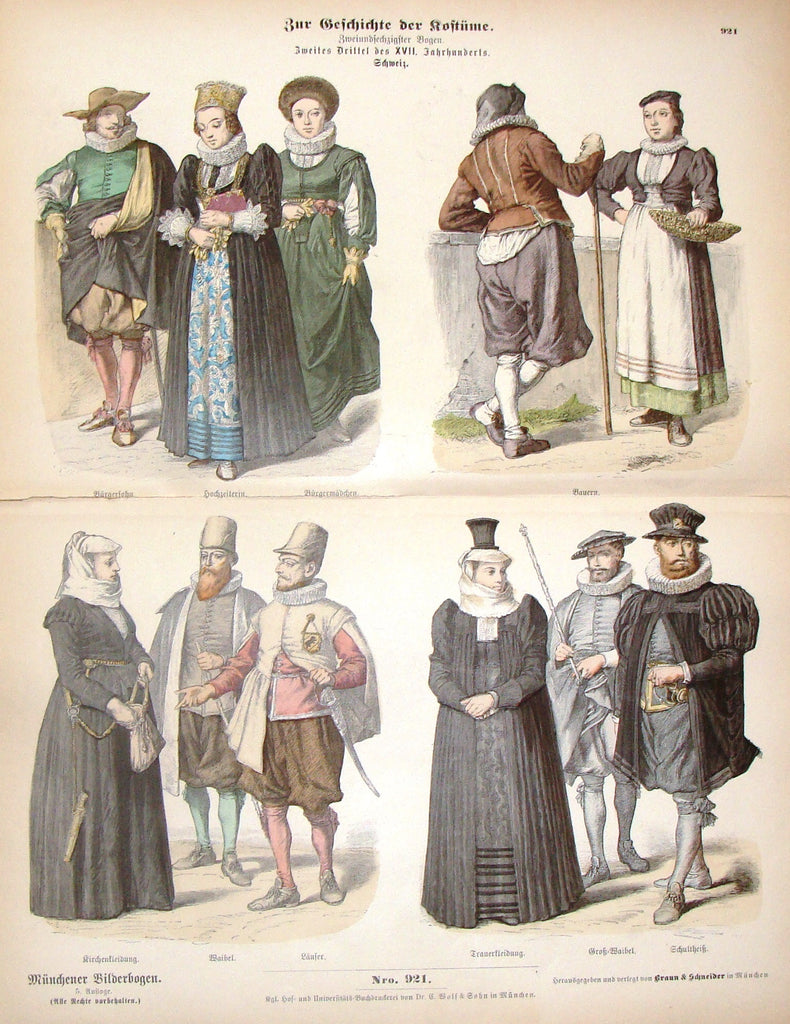 "Braun & Schneider's Costumes - ""SWITZERLAND (Number 921)"" - Chromo Lithograph - 1861"