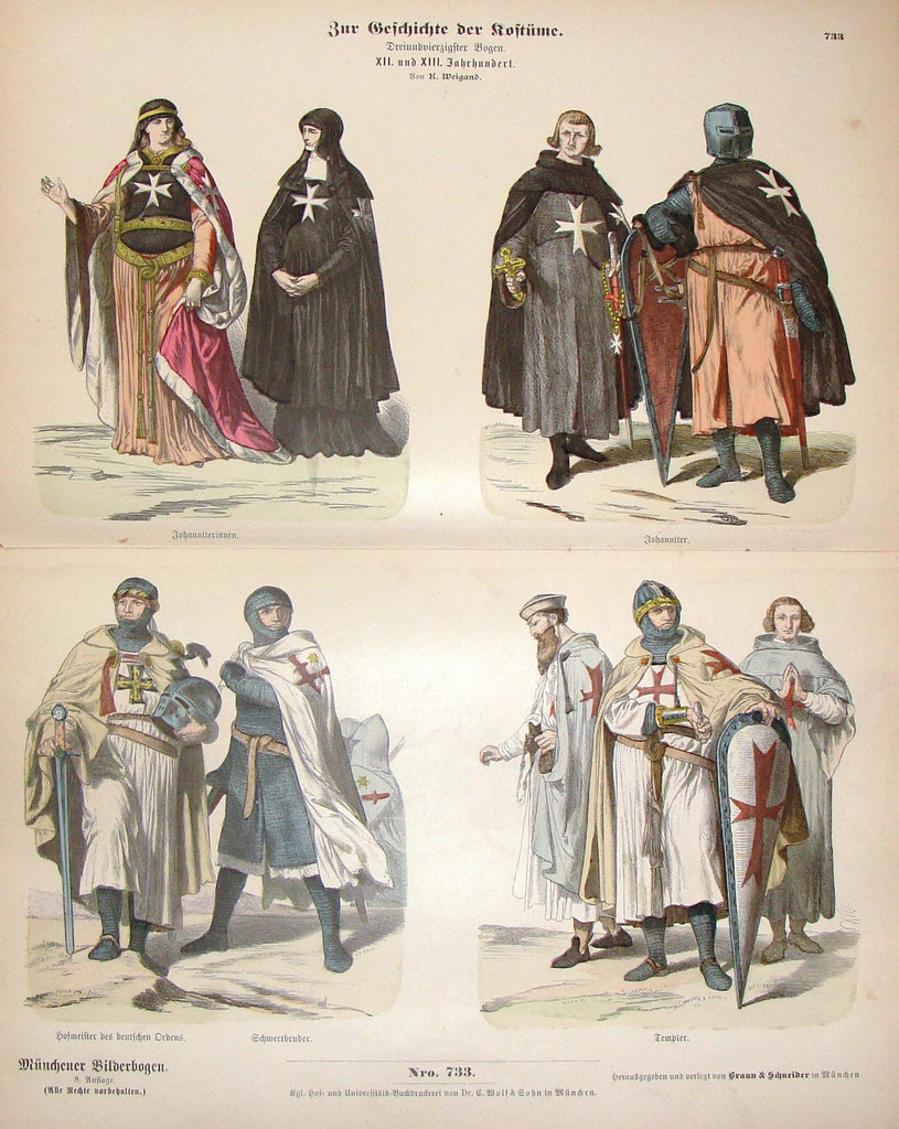 "Braun & Schneider's Costumes - ""TEMPLER (Number 733)"" - Chromo Lithograph - 1861"