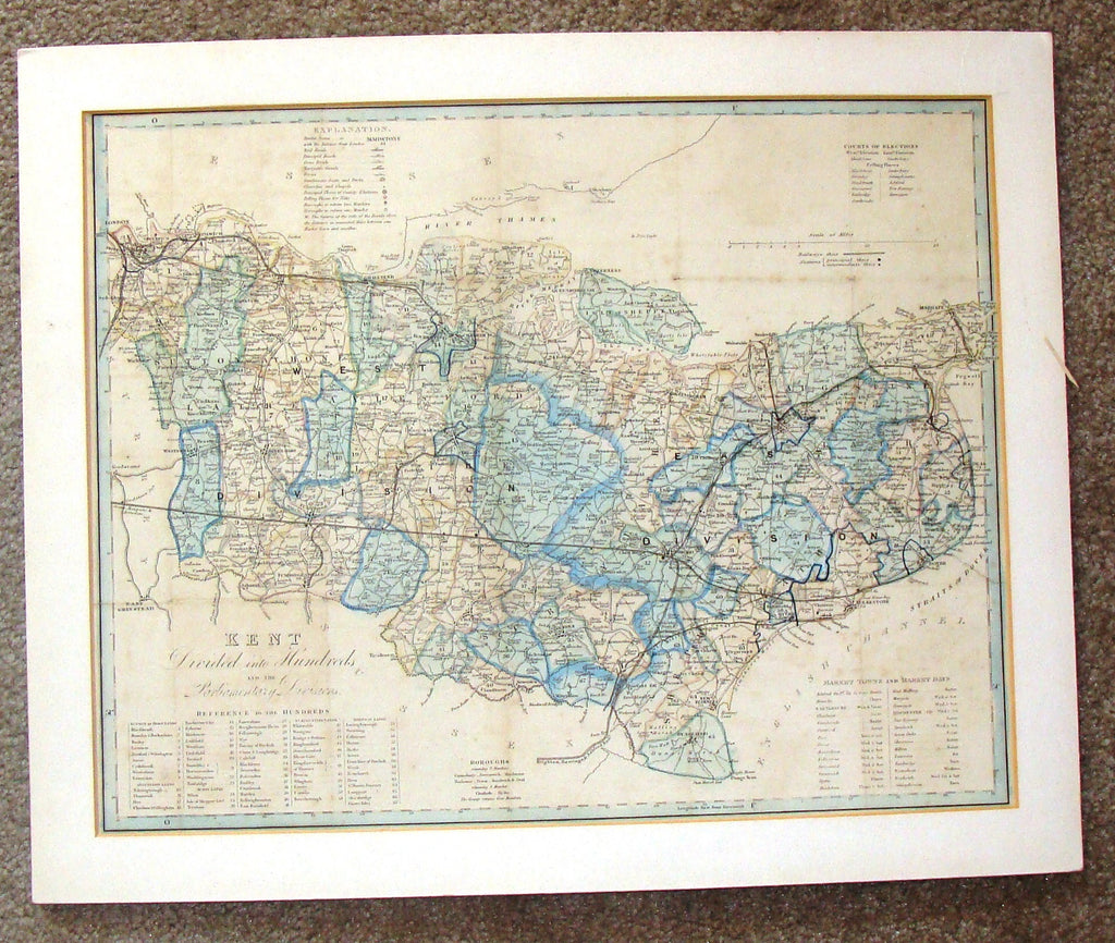 "Antique Map - ""KENT DIVIDED INTO HUNDREDS"" by Darton & Co. - Chromolithograph - c1880"