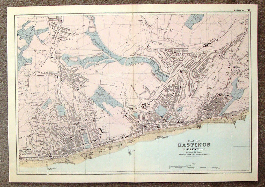 "Antique Map - ""PLAN OF HASTINGS AND ST. LEONARDS - #78"" by Bacon - Chromolithograph - 1898"