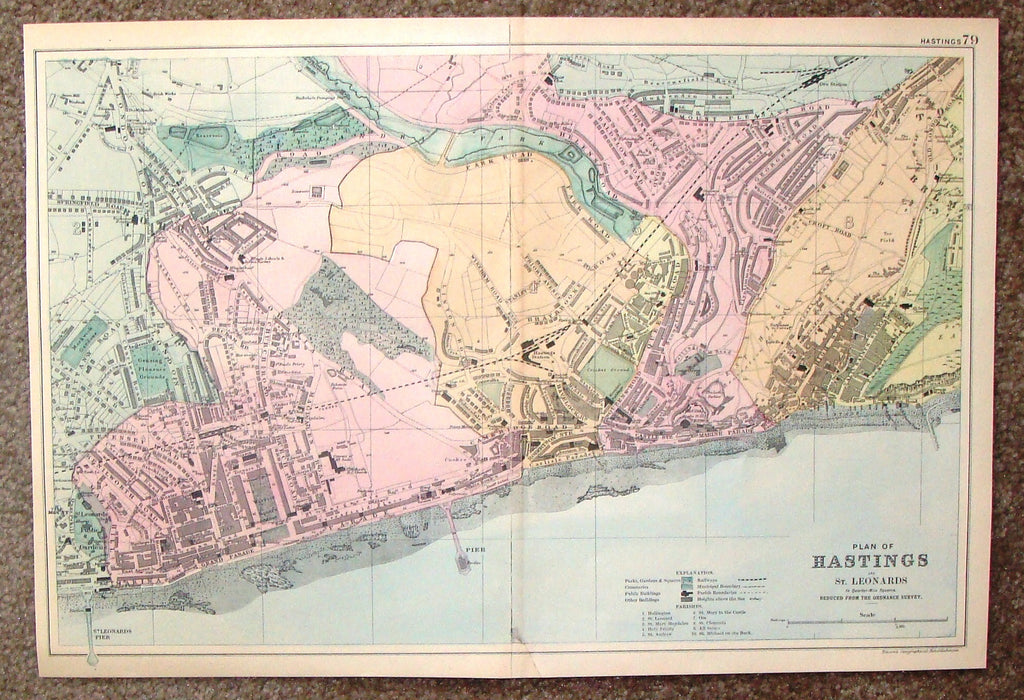 "Antique Map - ""PLAN OF HASTINGS AND ST. LEONARDS - #79"" by Bacon - Chromolithograph - 1898"