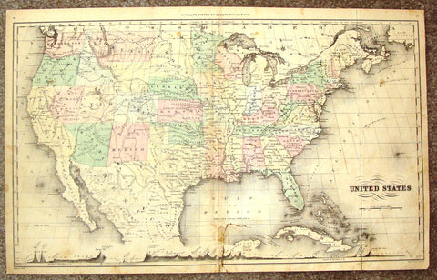 "Antique Map - ""UNITED STATES"" by McNally's System  - Hand Colored Lithograph - 1855"