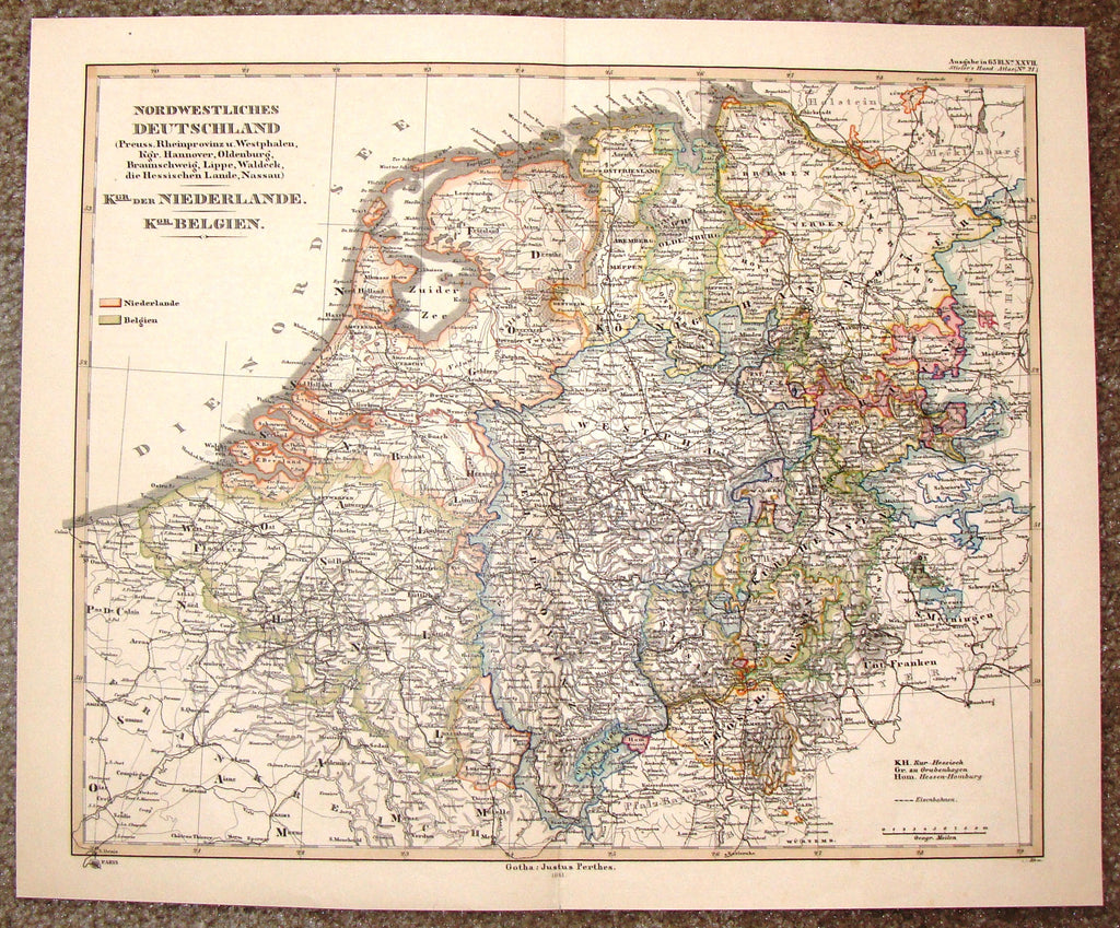 "Antique Map - ""NORDWESTLICHES DEUTSCHLAND"" by Gotha: Justus Perthes - Hand Colored Lithograph - 1861"