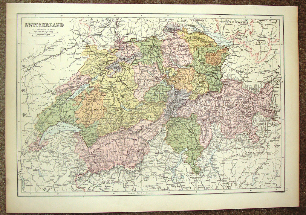 "Antique Map - ""SWITZERLAND"" by Bartholomew - Chromolithograph - c1875"