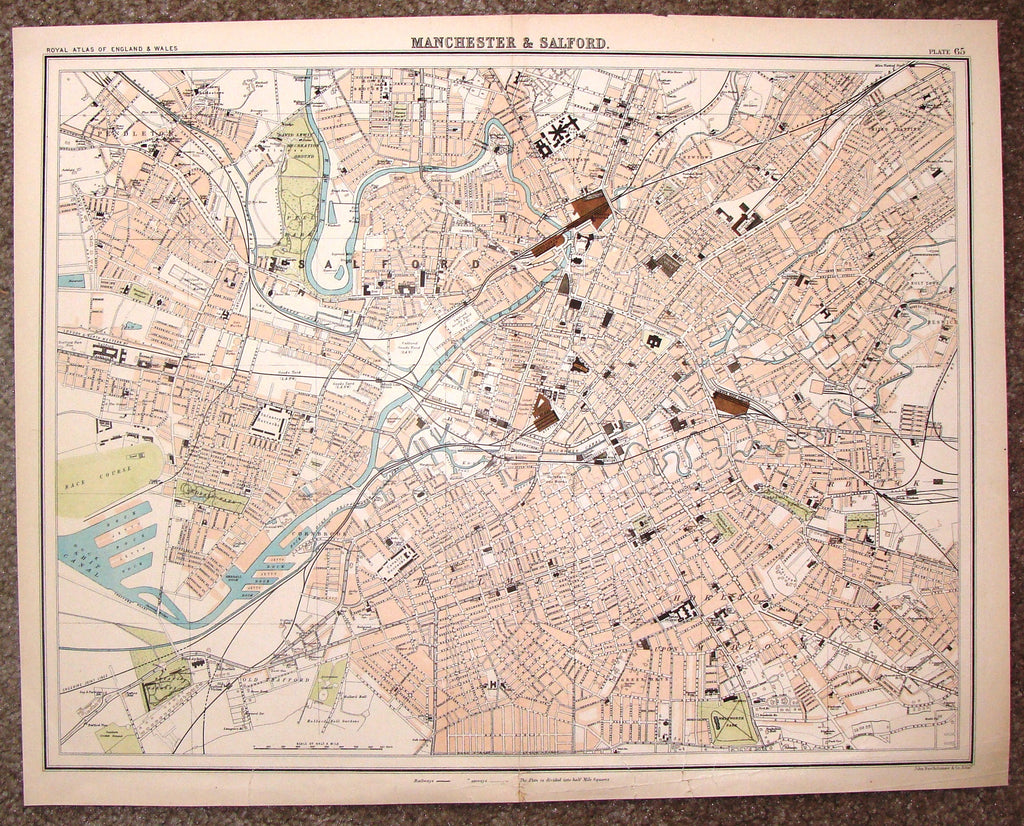 "Antique Map - ""MANCHESTER & SALFORD"" by Bartholomew - Chromolithograph - c1875"