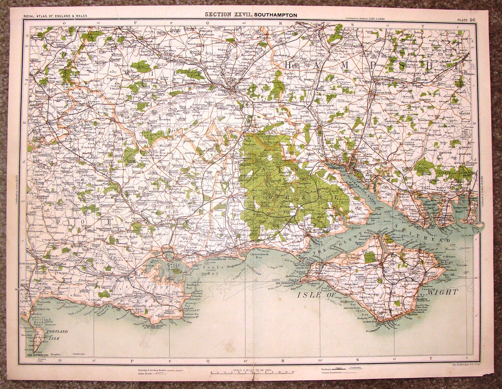 "Antique Map - ""SECTION XXVII, SOUTHAMPTON"" by Bartholomew - Chromolithograph - c1875"