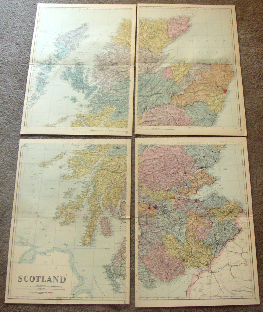 "Antique Map - ""SCOTLAND - LARGE FOUR PAGE MAP"" by Bacon - Chromolithograph - c1881"
