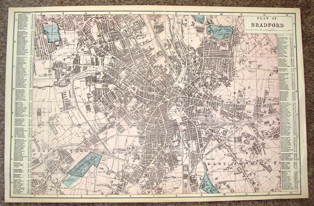 "Antique Map - ""PLAN OF BRADFORD"" by Bacon - Chromolithograph - c1880"