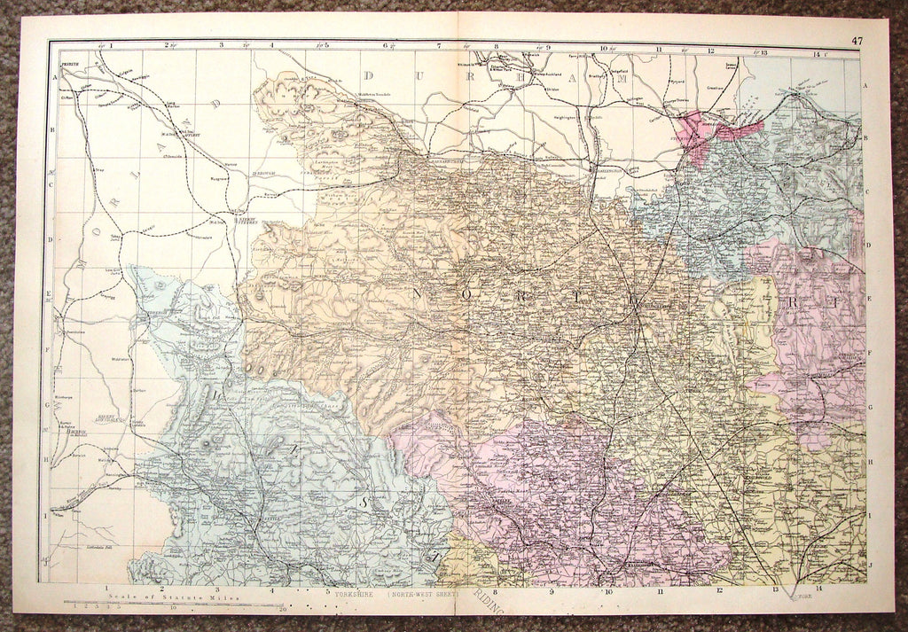 "Antique Map - ""YORKSHIRE, (NORTH-WEST SHEET)"" by Weller - Chromolithograph - c1881"