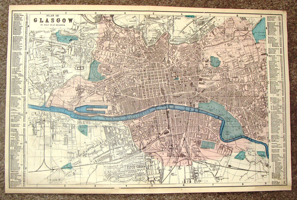 "Antique Map - ""PLAN OF GLASGOW"" by Bacon - Chromolithograph - c1880"