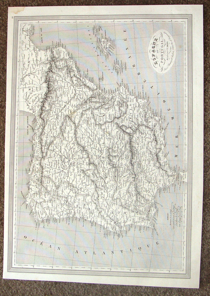 "Antique Map - ""ESPAGNE ET PORTUGAL"" by Monin - Steel Engraving - 1837"