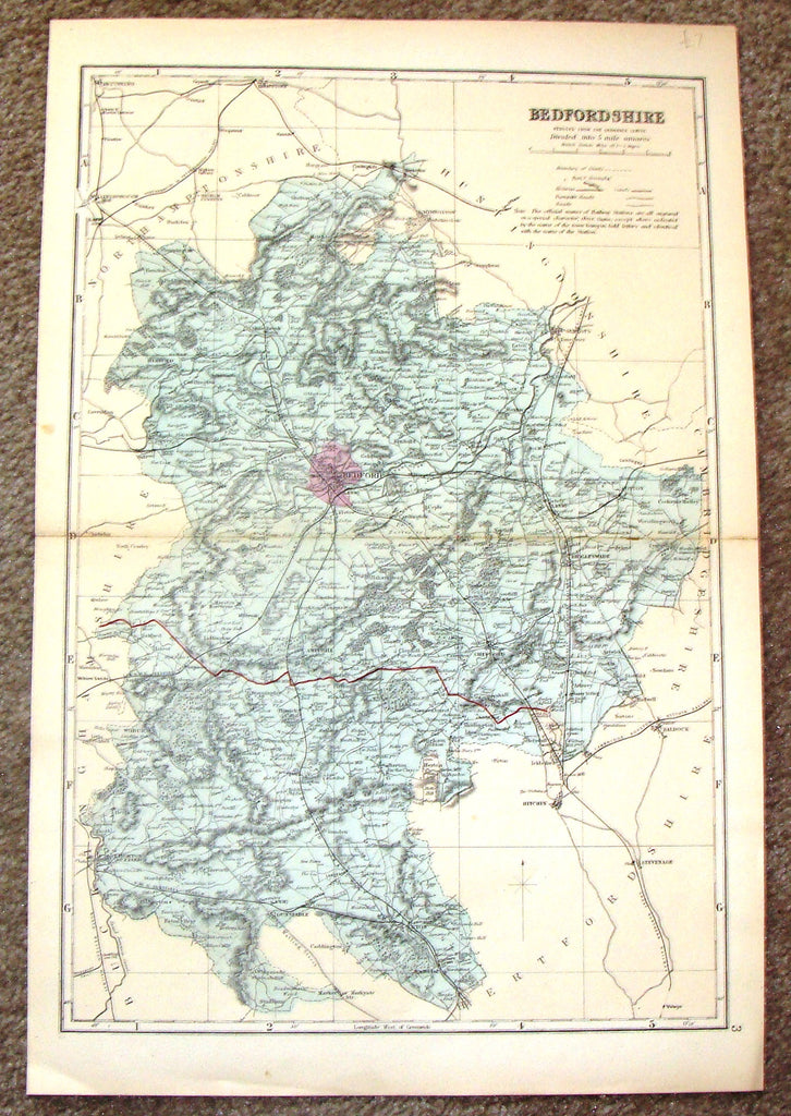 "Antique Map - ""BEDFORDSHIRE"" by Weller - Chromolithograph - 1862"