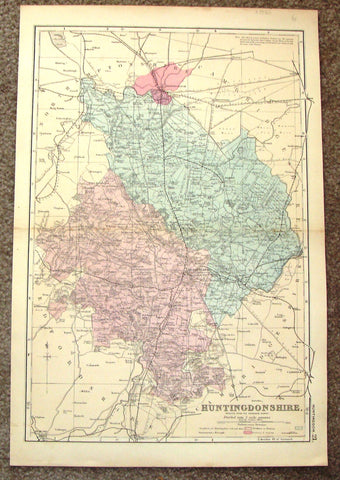 "Antique Map - ""HUNTINGDONSHIRE"" by Weller - Chromolithograph - 1862"