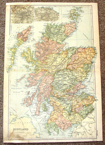 "Antique Map - ""SCOTLAND"" by Weller - Chromolithograph - 1862"