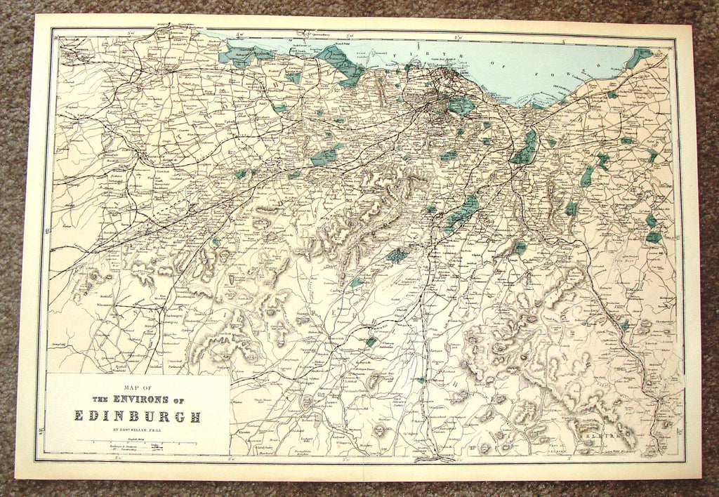 "Antique Map - ""THE ENVIRONS OF EDINBURGH"" by Weller - Chromolithograph - 1862"