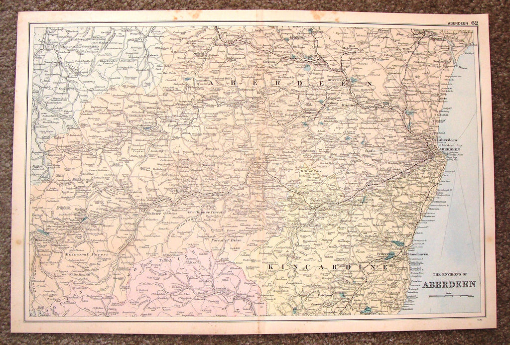 "Antique Map - ""ABERDEEN"" by Weller - Chromolithograph - 1862"