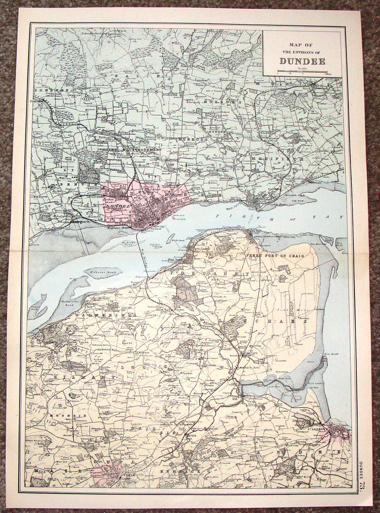 "Antique Map - ""MAP OF THE ENVIRONS OF DUNDEE"" by Bacon - Chromolithograph - c1880"
