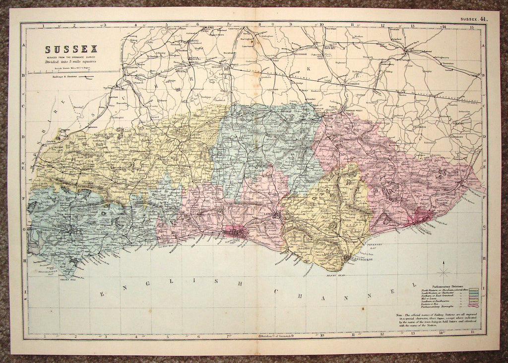 "Antique Map - ""SUSSEX"" by Bacon - Chromolithograph - c1880"
