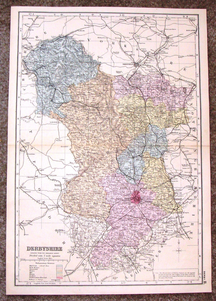 "Antique Map - ""DERBYSHIRE"" by Bacon - Chromolithograph - c1880"