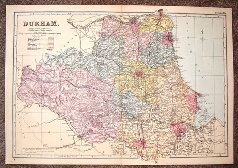 "Antique Map - ""DURHAM"" by Bacon - Chromolithograph - c1880"