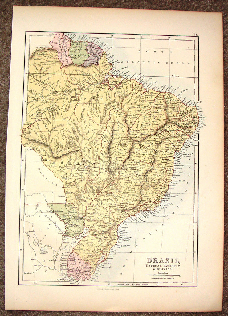 "Antique Map - ""BRAZIL, URUGUAY, PARGUAY & GUAYANA"".by A.& C. Black - Chromolithograph - c1880"