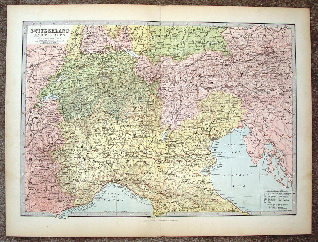 "Antique Map - ""SWITZERLAND AND THE ALPS"" by Bartholomew - Chromolithograph - c1875"