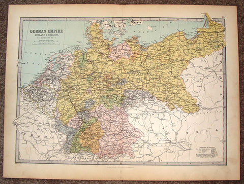 "Antique Map - ""GERMAN EMPIRE, HOLLAND & ELGIUM"" by Bartholomew - Chromolithograph - c1875"