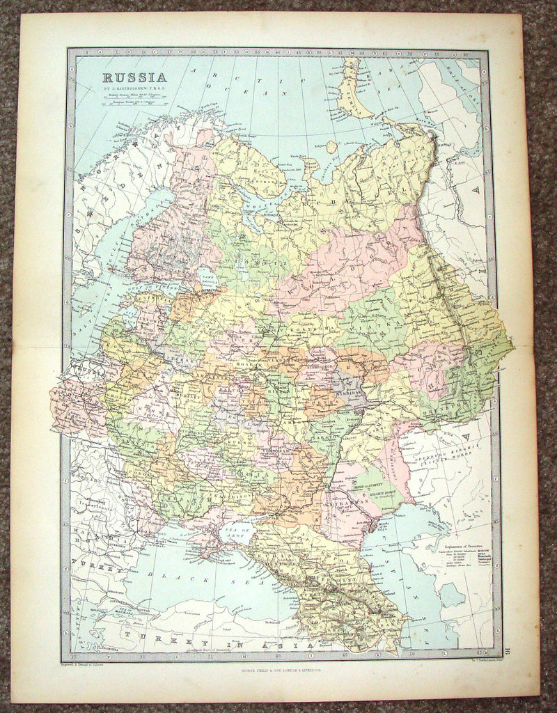 "Antique Map - ""RUSSIA"" by Bartholomew - Chromolithograph - c1875"