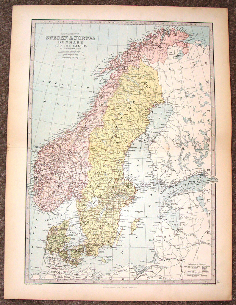 "Antique Map - ""SWEDEN & NORWAY, DENMARK AND THE BALTIC"" by Bartholomew - Chromolithograph - c1875"