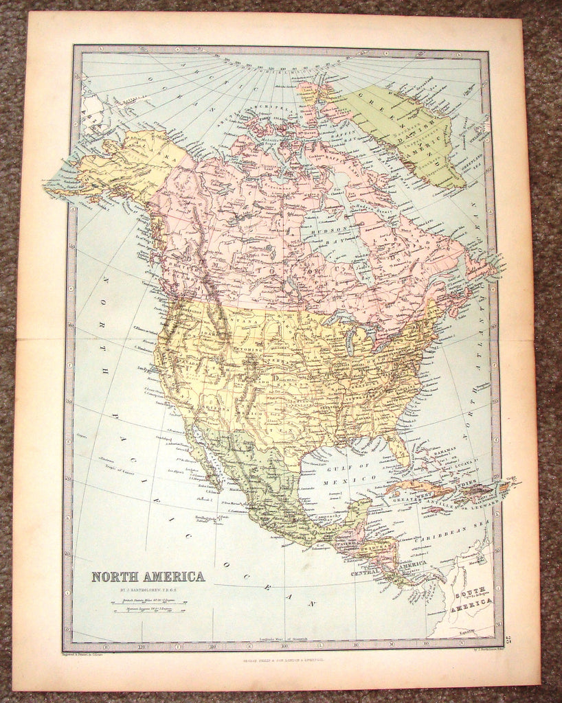 "Antique Map - ""NORTH AMERICA"" by Bartholomew - Chromolithograph - c1875"