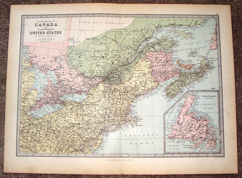"Antique Map - ""CANADA AND NORTHERN UNITED STATES"" by Bartholomew - Chromolithograph - c1875"