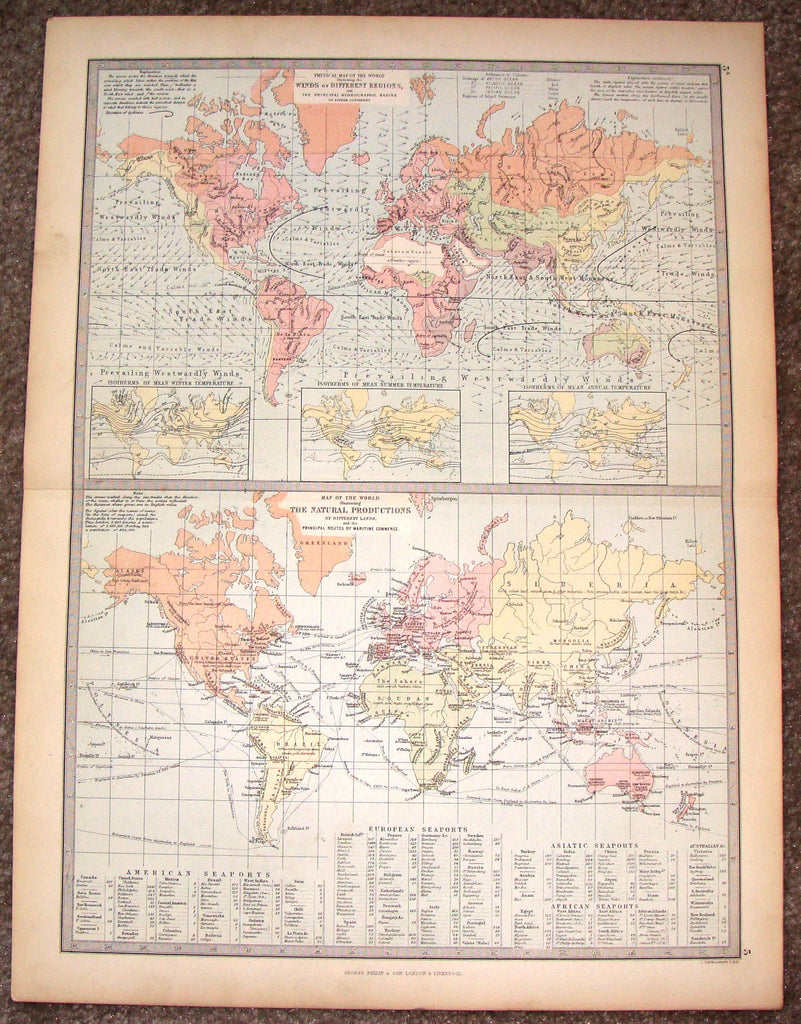 "Antique Map - ""PHYSICAL MAP OF THE WORLD"" by Bartholomew - Chromolithograph - c1875"