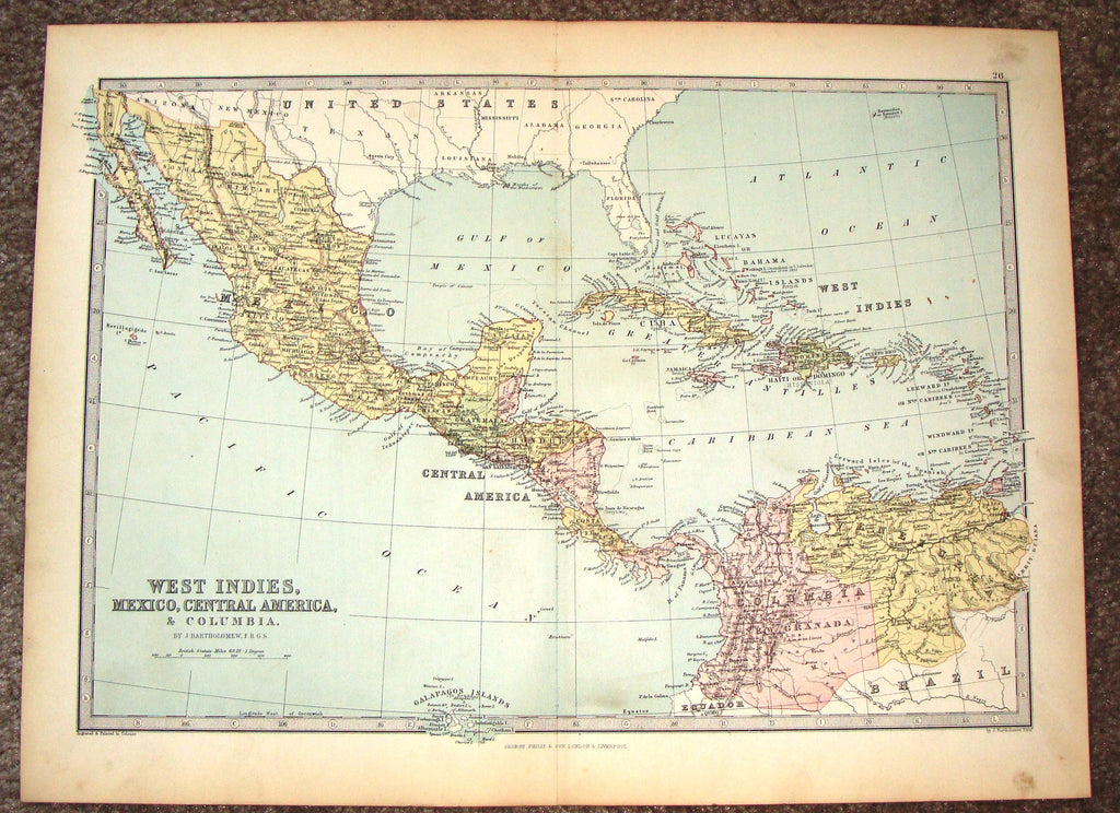 Antique Map - WEST INDIES, MEXICO, CENTRAL AMERICA... by Bartholomew - Chromo - c1875