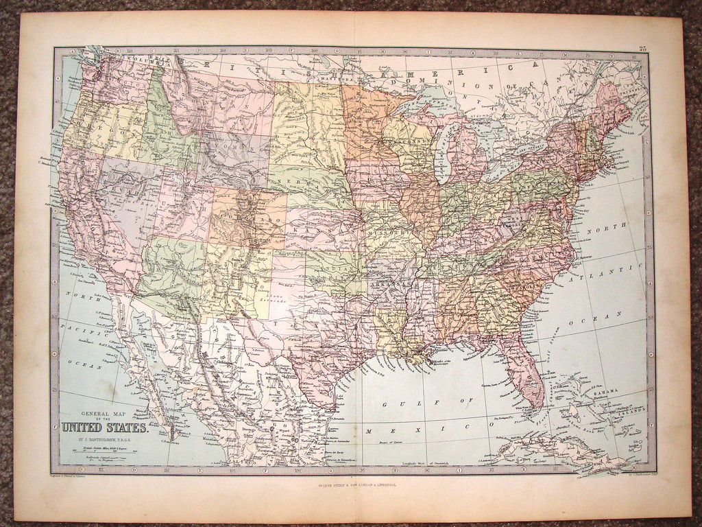 "Antique Map - ""GENERAL MAP OF THE UNITED STATES"" by Bartholomew - Chromolithograph - c1875"