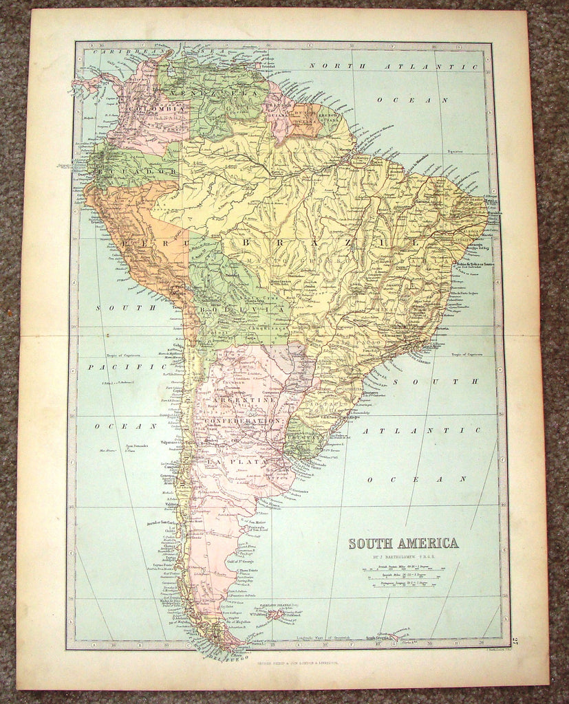 "Antique Map - ""SOUTH AMERICA"" by Bartholomew - Chromolithograph - c1875"