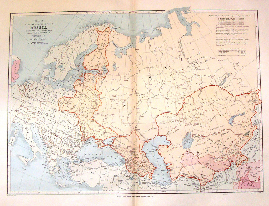Antique Map - AQUISITIONS BY RUSSIA SINCE PETER THE GREAT by Stanford - Chromo - 1896