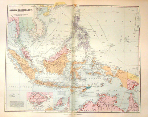 "Antique Map - ""ASIATIC ARCHIPELAGO"" by Stanford - Large Chromolithograph - 1896"