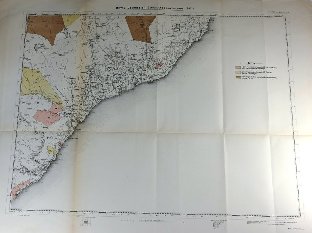 "Deer Forest Commission Map - Scotland - ""LATHERON"" - SHEET 110"" - Chromo - 1892"