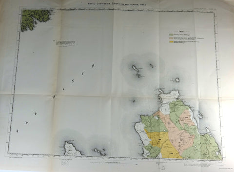 "Deer Forest Commission Map - Scotland - ""RUDHA HUNISH"" - SHEET 64"" - Chromo - 1892"
