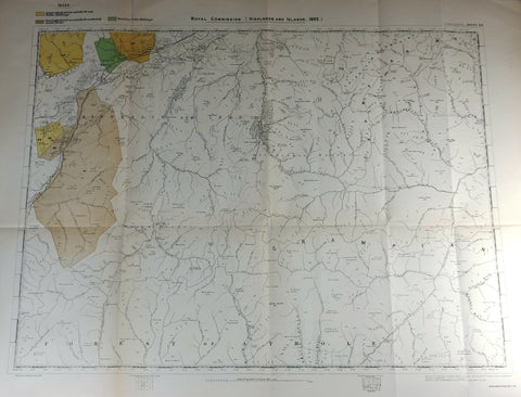 "Deer Forest Commission Map - Scotland - ""KINGUSSIE - SHEET 64"" - Chromo - 1892"