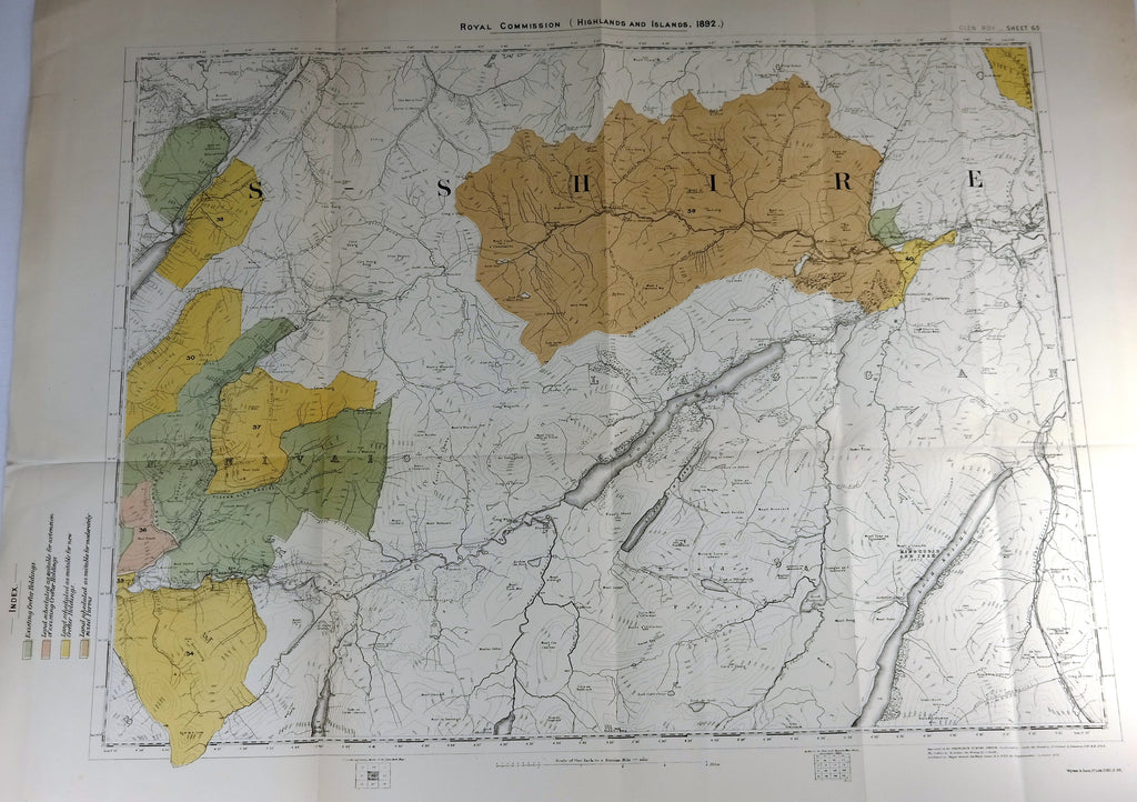 "Deer Forest Commission Map - Scotland - ""GLEN ROY - SHEET 63"" - Chromo - 1892"