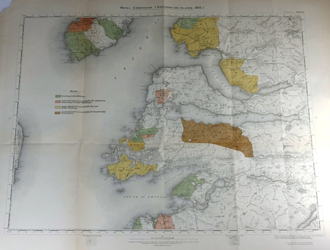 "Deer Forest Commission Map - Scotland - ""ARISAIG - SHEET 61"" - Chromo - 1892"