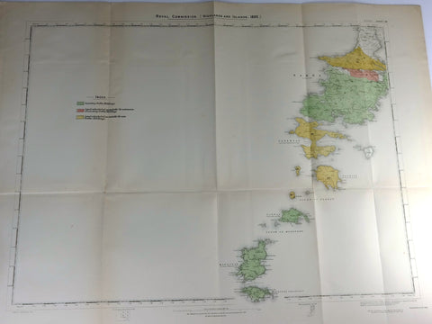"Deer Forest Commission Map - Scotland - ""BARRA - SHEET 58"" - Chromo - 1892"