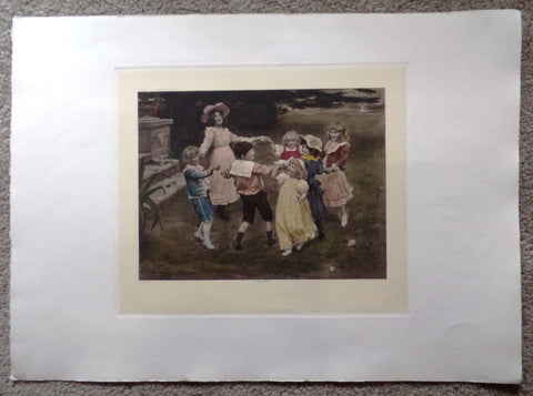 "Arthur J. Elsley Print -  ""RING AROUND THE ROSEY""  - Chromolithograph  - c1970"